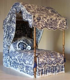 Gorgeous Toile Canopied Bed With Oodles of by LindaGaleMiniatures, $310.00