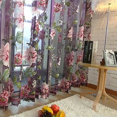 String Curtains, Tulle Curtains, Floral Curtains, Lined Curtains, Window Drapes, Door Curtains, Window Panels, Bedroom Curtains, Curtain Door