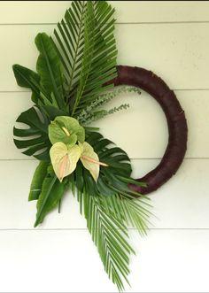 Tropical Christmas Wreath with Meleana Add To Cart document. Bohemian Christmas, Coastal Christmas, Tropical Christmas Decorations, Tropical Doors, Deco Jungle, Hawaiian Decor, Palm Sunday, Diy Wreath, Door Wreaths