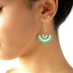 Turquoise earrings dangle Fashion earrings Long earrings for women Turquoise and pearl earring Fan earrings Turquoise gold earrings Ohrringe Bead Jewellery, Pearl Jewelry, Beaded Jewelry, Jewelry Bracelets, Turquoise Pendant, Turquoise Earrings, Seed Bead Earrings, Women's Earrings, Seed Beads