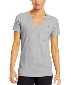 Another great find on #zulily! True Gray Heather Power in Pink® 'Support Fight Give' Tee by Under Armour® #zulilyfinds