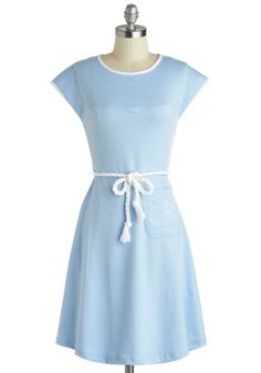 Tie the Nautical Dress - Mid-length, Blue, White, Embroidery, Belted, Casual, Nautical, A-line, Cap Sleeves, Crew, Solid, Pockets, Pastel, S...