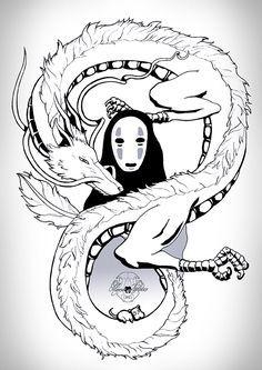 Studio ghibli 💜 Haku e no face Studio Ghibli Tattoo, Studio Ghibli Art, Studio Ghibli Movies, Totoro, Anime Kunst, Anime Art, Spirited Away Tattoo, Spirited Away Dragon, Spirited Away Haku