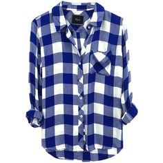 Rails Hunter Shirt - Cobalt Blue And White Check (2.808.850 IDR) ❤ liked on Polyvore