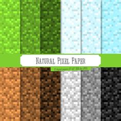 Buy 2 Get 1 Free! Digital Paper Natural Pixel Paper, Green, Black, Brown, Gray, Blue sky, Ice, colored mosaic, colorful background, seamless