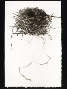 Sarah Gillespie, Empty Nest Unravelling, charcoal and ink on arches paper