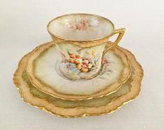 RARE ANTIQUE NAUTILUS Possil Pottery - Glasgow Scotland Pottery - Rare Antique Porcelain Teacup Trio - Rare Hand Painted Porcelain