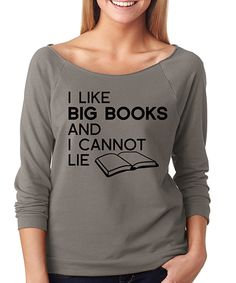 SignatureTshirts Gray 'I Like Big Books' Raglan Tee by SignatureTshirts #zulily #zulilyfinds