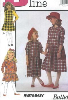 Butter... 1 3 Butterick Childrens Easy Sewing Pattern 3772 Summer Dresses Ages