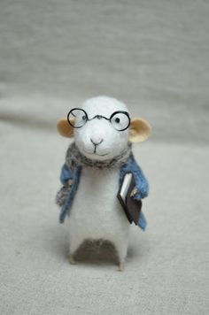 Little Reader Mouse with Glasses  Felting Dreams  by feltingdreams.  He's MINE!