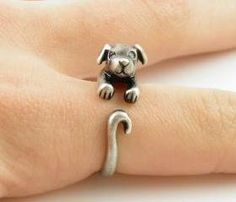Silver Puppy Animal Wrap Ring