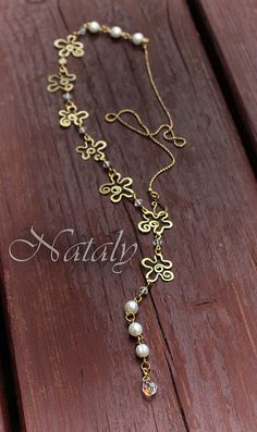 Flower Chain Necklace Lariat Necklace Pearl by NatalyDesign