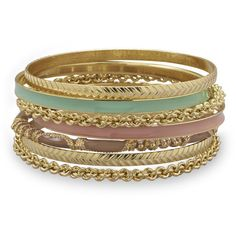 Set of 7 Gold Tone Fashion Bangle Bracelets with Green and Tan Enamel (1,395 INR) ❤ liked on Polyvore featuring jewelry, bracelets, gold tone bangles, hinged bracelet, enamel bangle bracelet, rose gold tone jewelry and green jewelry