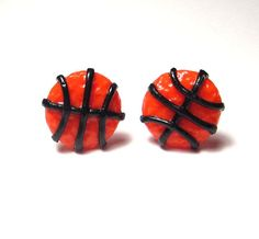 Basketball Polymer Clay Stud Earrings Surgical Steel by adcdmc