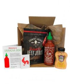 The hot sauce of the moment is (still) undeniably Sriracha. Each box is filled with a variety of items that range from food items like spicy popcorn and jerky to Sriracha-themed apparel and stationery.