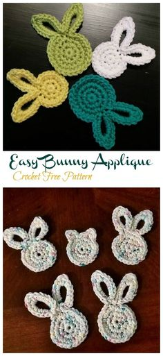 Crochet Bunny Applique Free Patterns: Easy and Quick Easter Bunny / Rabbit Applique and Motifs crochet pattern most free for Easter crochet decoration Easy Crochet Stitches, Crochet Motif, Crochet Designs, Free Crochet, Crochet Patterns, Crochet Appliques, Applique Patterns, Stitch Patterns, Easter Crochet