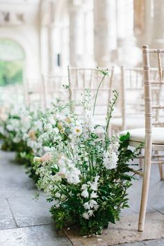Wedding Aisle Lined With Fresh Flowers by Petalon - Stylish Wedding at Aynhoe Park With Incredible Floral Arch And Aisle By Petalon With Bride In Jenny Packham and Images by Melissa Beattie