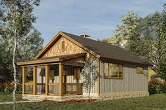 2 Bed Rustic Getaway House Plan - 60677ND | Architectural Designs - House Plans Small Rustic House, Rustic House Plans, Cabin House Plans, Modern Tiny House, New House Plans, Small House Plans, Small Cabin Designs, Building A Small Cabin, Build Your Own House