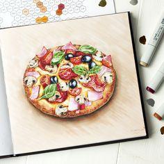 Всем легкой рабочей недели! Очень люблю итальянскую кухню🤤, давно хотела нарисовать… Fruits Drawing, Food Drawing, Amazing Drawings, Colorful Drawings, Dressing For Fruit Salad, Illustration Art Nouveau, Pizza Art, Food Clipart, Food Sketch