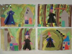 Heksen  en snoephuisje  (collage) Achtergrond eerst schilderen in boskleuren