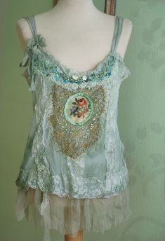 RESERVED FOR SUSAN---romantic delicate top with antique and vintage lace, applique and embroidery