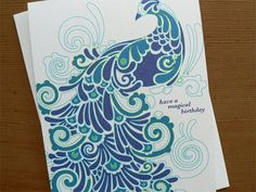 Magic Birthday Peacock Card by Katie Dean at littlegreencards on Etsy, $3.50