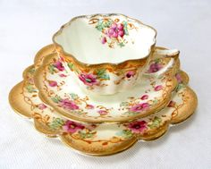 Antique Floral Trio, Victorian Rococo Revival Gold Pink & Aqua Fluted Scalloped Rim Porcelain Cup Saucer Teaplate Set Late 1800s by keepsies on Etsy - £22.00