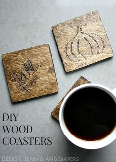 we should do this for adam and chels.. with their logo on it!  ;)  Fall Themed Wood Coasters via @tarynatddd !