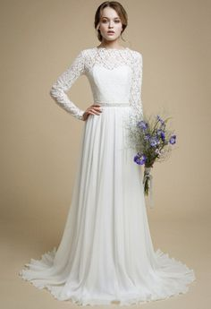 INNA / wedding gown chiffon dress lace wedding dress bridal wedding dress 2017 corset wedding gown a-line wedding dress floral wedding dress   by VICTORIASPIRINA to Etsy