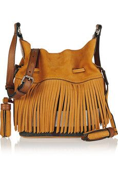 Burberry Shoes & Accessories Fringed suede and checked canvas bucket bag   NET-A-PORTER