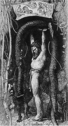 Thor lifts the cat - Illustration from Gjøgleriet i Utgard (1872)
