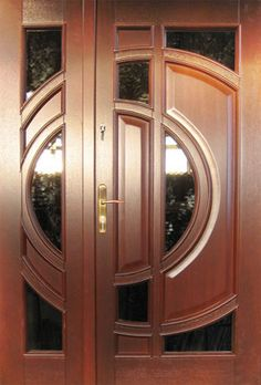 entrance door Wooden Front Door Design, Double Door Design, Door Gate Design, Door Design Interior, Main Door Design, Wooden Front Doors, House Front Design, Double Doors Exterior, Exterior Doors With Glass