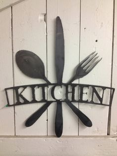 Kitchen metal cut 17 wide 19 tall Great for wall art, house warming gifts.   Signs are plasma cut and cleaned on an item by item basis with