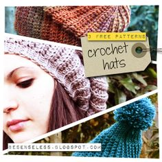 3 free crochet patterns using similar stitches.  Needs to be translated.