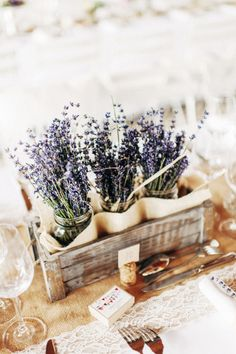 Lavender Centerpieces for Country Rustic Wedding Decor Lavender Centerpieces, Spring Wedding Centerpieces, Centerpiece Ideas, Lavender Decor, Lavender Bouquet, Rustic Centerpieces, Lavander, Flower Box Centerpiece, Wooden Box Centerpiece