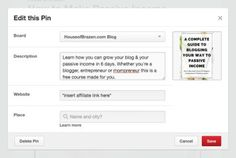 how to add affiliate links on pinteresr