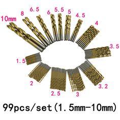 $28.40 (Buy here: https://alitems.com/g/1e8d114494ebda23ff8b16525dc3e8/?i=5&ulp=https%3A%2F%2Fwww.aliexpress.com%2Fitem%2FNewest-99pcs-Set-Titanium-Coated-HSS-High-Speed-Steel-Drill-Bit-Set-Tool-1-5mm-10mm%2F32576349283.html ) Newest 99pcs/Set Titanium Coated HSS High Speed Steel Drill Bit Set Tool 1.5mm - 10mm Drill Bit for just $28.40
