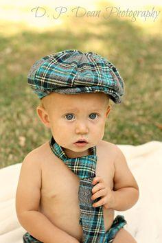 Baby Boy Photo Prop. Cake Smash Outfit.  Newsboy Hat - Diaper Cover - Neck tie. Newborn photo prop set. Infant Boys Photo Prop Set. $70.00, via Etsy.