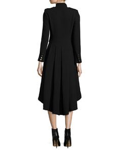 TAHFA Alice + Olivia Rossi Long-Sleeve Military-Style Dress, Black