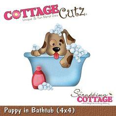 Cottage Cutz-4x4 Dies-Puppy in Bathtub