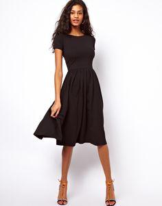 4e1ca4f60653 ASOS Midi Dress With Short Sleeves. The perfect black dress 071516