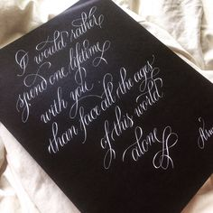 Custom calligraphy on black paper for quotes poems wall art