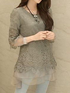 $14.06 Stylish Round Collar Long Sleeve Lace Spliced Blouse For Women