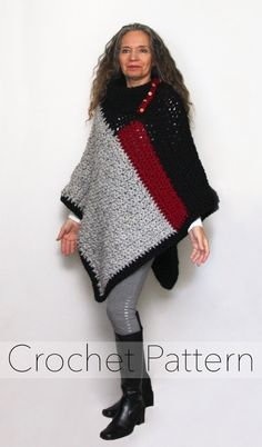 Ravelry: Baldwin Poncho pattern by Bernadette ProkopetzThis thick chunky poncho is perfect for transitional weather. It is quick to crochet and is loaded with details such as a split turtleneck collar, decorative buttons, and a bold colour block design. Poncho Au Crochet, Crochet Poncho Patterns, Chunky Crochet, Knit Crochet, Foundation Single Crochet, Super Chunky Yarn, Easy Stitch, Long Sweaters, Crochet Clothes