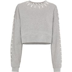 Jonathan Simkhai cropped stitched sweatshirt ($453) ❤ liked on Polyvore featuring tops, hoodies, sweatshirts, grey, grey top, gray sweatshirt, grey crop top, grey sweatshirt and gray top