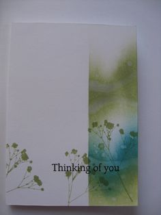 Sponged background Cool Cards, Diy Cards, Guache, Get Well Cards, Card Making Inspiration, Watercolor Cards, Sympathy Cards, Paper Cards, Creative Cards