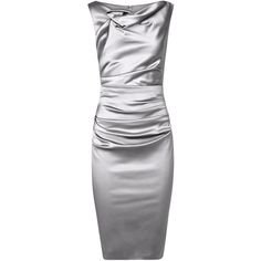 Talbot Runhof Gosling3 Silver Ruched Satin Dress ($315) ❤ liked on Polyvore featuring dresses, ruching dress, floral cocktail dresses, floral dresses, ruched cocktail dress and rouched dress