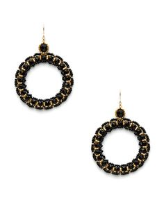 $310     - 145  14K yellow gold fill, 18K yellow gold plated base metal, and black Miyuki beads oversized open circle earrings        3 inches long      2 inches at widest point      Fishhook closure