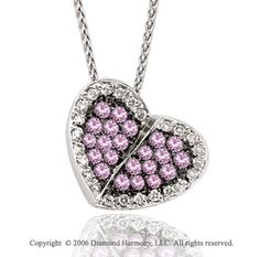 14k White Gold Pink Sapphire Garden Diamond Heart Necklace -> Description: Twenty-two pebbles of prong set sapphires are divided into two halves of a heart of white gold. You 'll mend a broken heart with this 14k W Gold Pink Sapphire Garden Diamond Heart Necklace. -> sku=HT9170 -> Price $710.00
