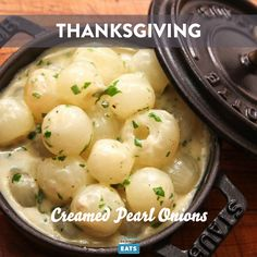 For a mellower, more savory take on pearl onions, try a long, slow cook in a rich blend of stock and cream. Creamed Pearl Onions Recipe, Pearl Onion Recipe, Creamed Onions, Thanksgiving Vegetables, Thanksgiving Side Dishes, Thanksgiving Desserts, Thanksgiving Prayer, Thanksgiving Outfit, Thanksgiving Crafts